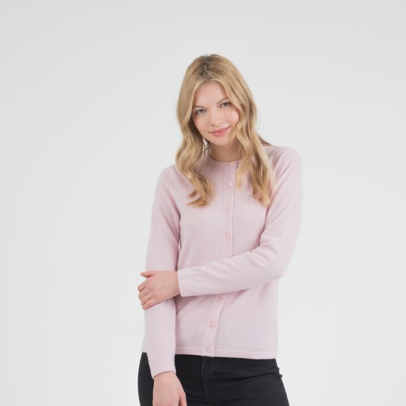 Women's Cashmere High Button Cardigan | Pale Lilac