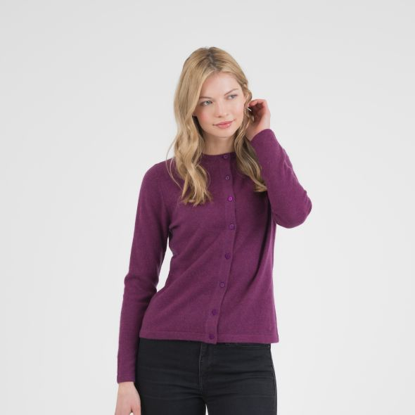 Women's Cashmere High Button Cardigan | Sloeberry