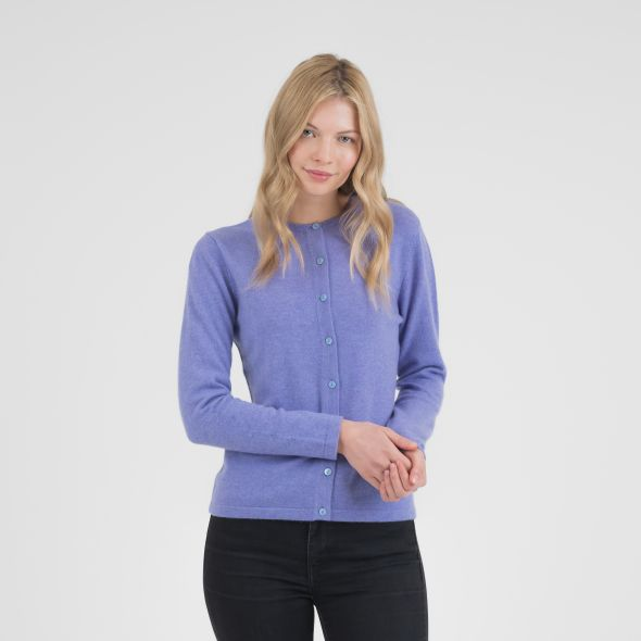 Women's Cashmere High Button Cardigan | Wisteria
