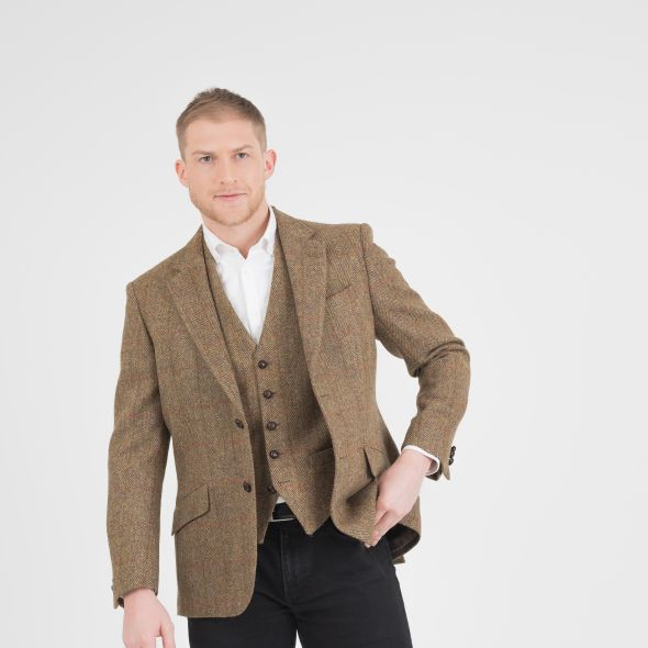 Men's Harris Tweed Patrick Jacket | Mustard Check
