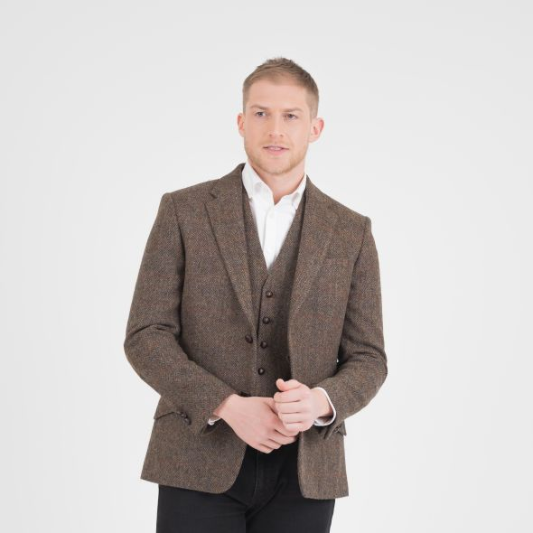 Men's Harris Tweed Patrick Jacket | Brown Check