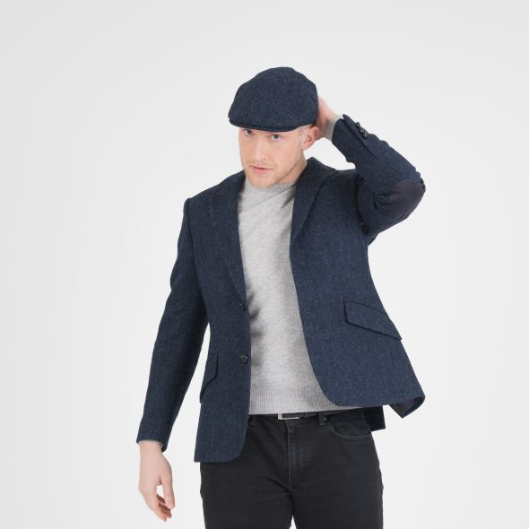 Harris Tweed Stornoway Cap | Dark Navy Herringbone