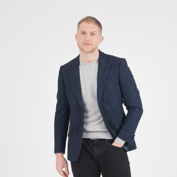 Men's Harris Tweed Patrick Jacket | Dark Navy Herringbone