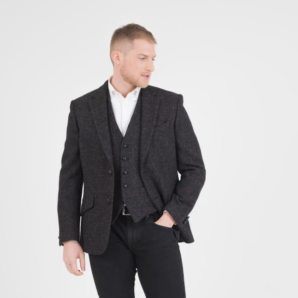 Men's Harris Tweed Patrick Jacket | Charcoal Red Check