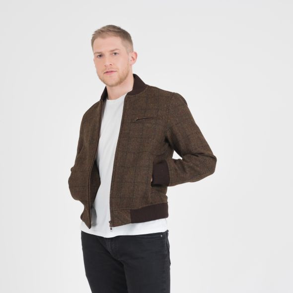 Men's Harris Tweed Bomber Jacket | Green Check