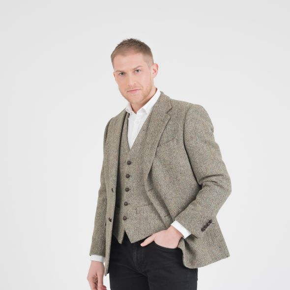 Men's Harris Tweed Finlay Jacket | Green Lovat Herringbone