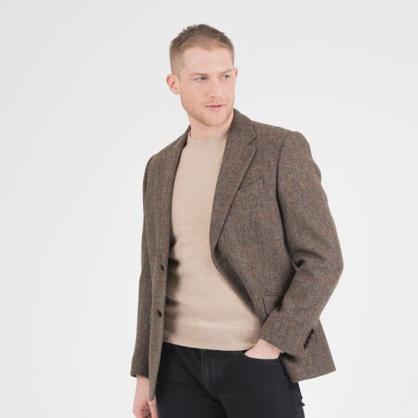 Men's Harris Tweed Finlay Jacket | Brown Check