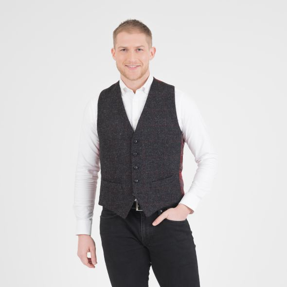 Harris Tweed Iain Waistcoat | Charcoal Red Check