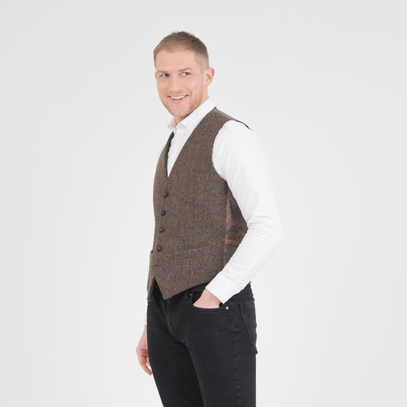 Harris Tweed Iain Waistcoat | Brown Check