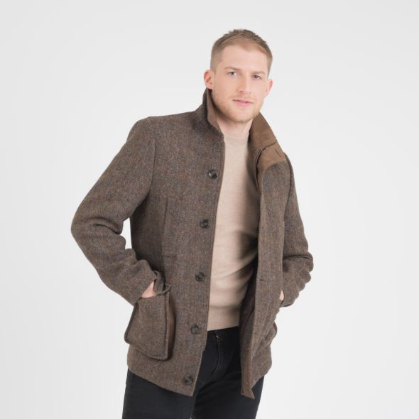 Men's Harris Tweed Boyd Jacket | Brown Check