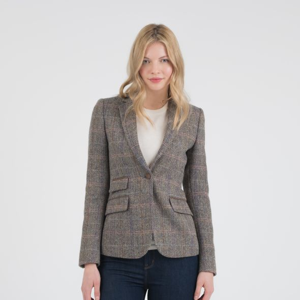 Women's Harris Tweed Janice Blazer | Natural Check