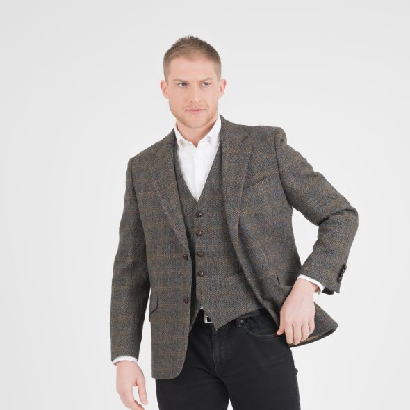 Men's Harris Tweed Finlay Jacket | Dark Green Check