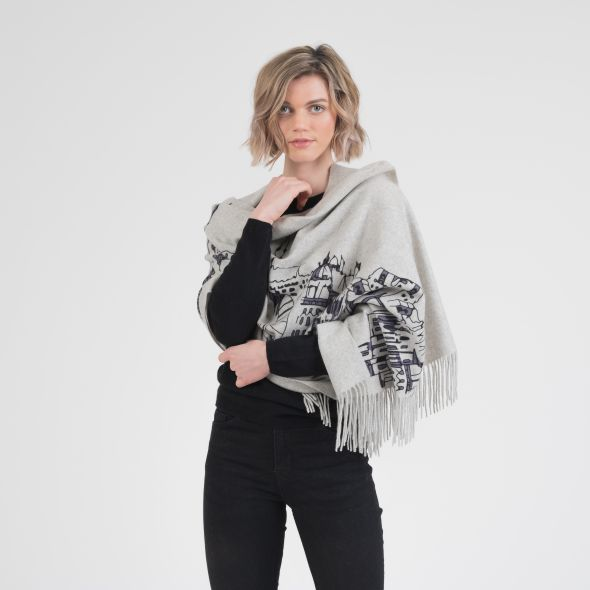Cashmere Double Sided Printed Stole | Grey Edin Skyline