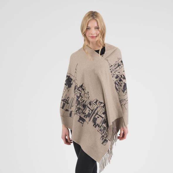 Cashmere Double Sided Printed Stole | Beige Edin Skyline