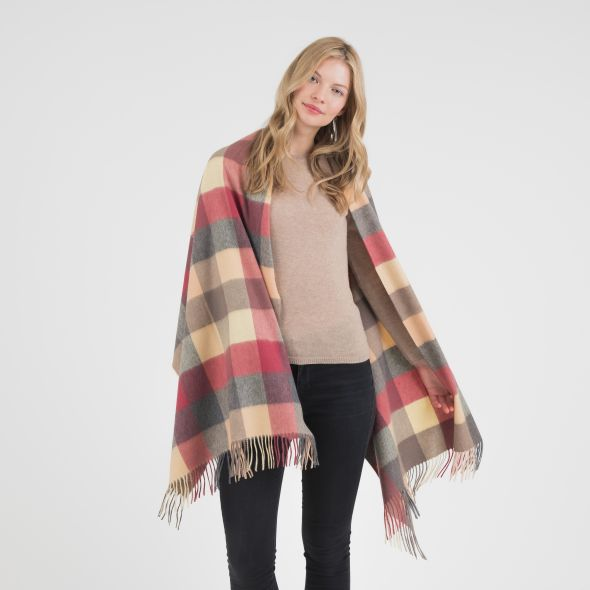Cashmere Stole | Grey Rose 5 Square Check