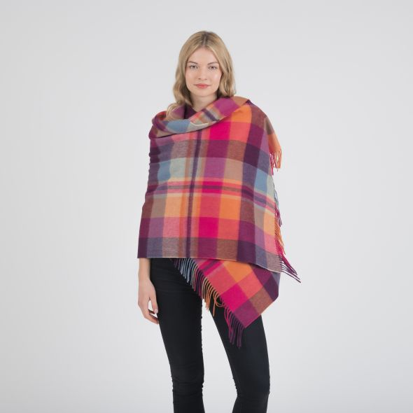 Lambswool Stole | Orient Ginger New Square Check