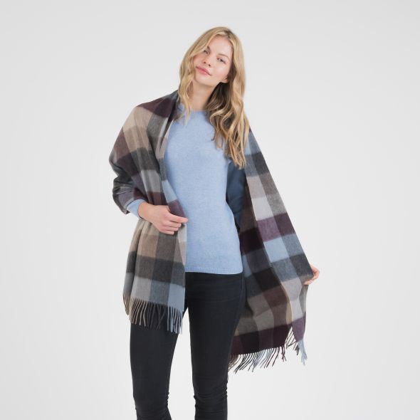 Cashmere Stole | Teal 5 Square Check