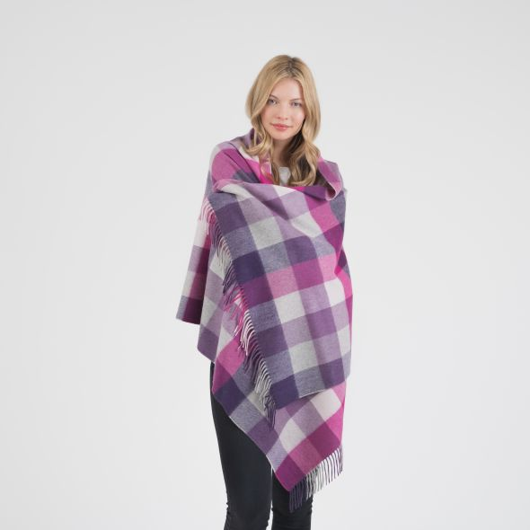 Cashmere Stole | Purple 5 Square Check