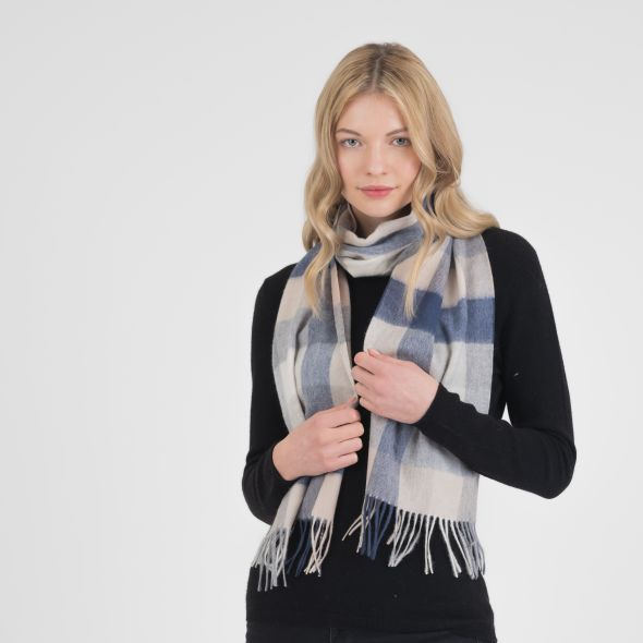 Cashmere Scarf | Swiss Coffee 5 Sq Check