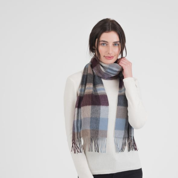 Cashmere Scarf | Damson New Sq Check