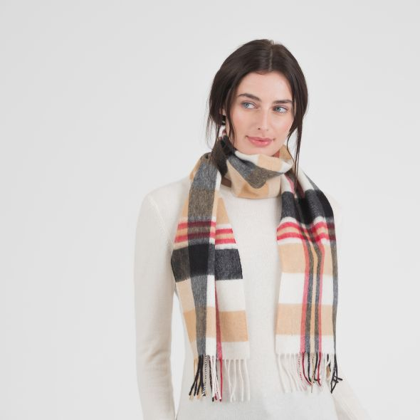 Cashmere Scarf | Camel New Square Check