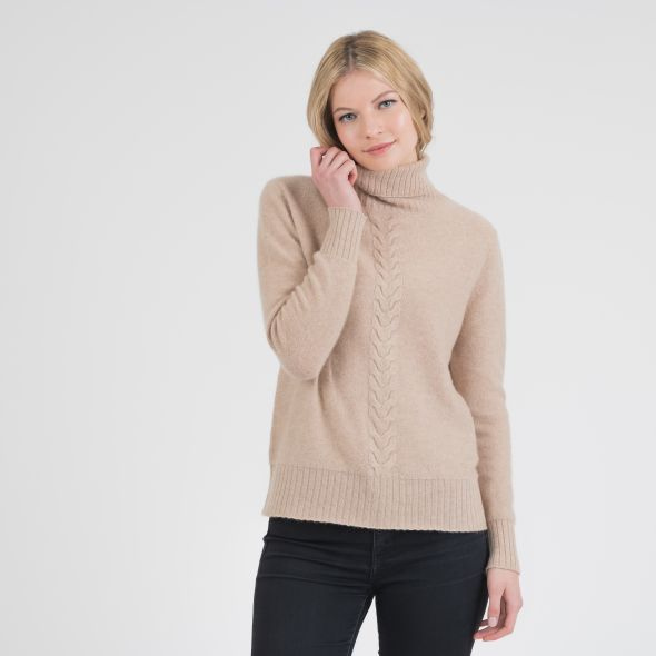 Women's Cable Knit Roll Neck Jumper | Camel