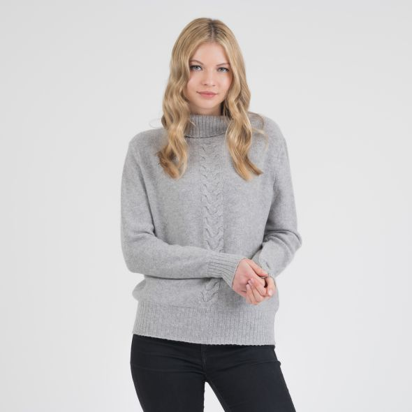 Women's Cable Knit Roll Neck Jumper | Grey