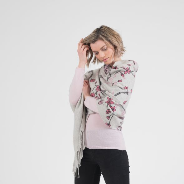Cashmere Double Sided Printed Stole | Cherry Blossom